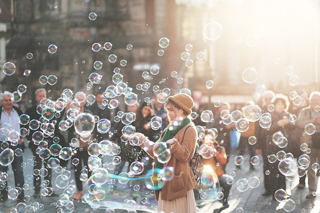Crowd observing bubbles